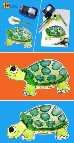 Turtle With Moving Head Paper Craft #animalcrafts#craftideasdforkids#funcraftsforkids#kidscraft#turtle