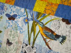 Lap QuiltFrench Birds by piecesofsue on Etsy, $150.00