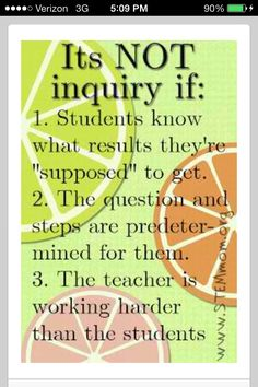 This is a wonderful poster for teachers to use as a visual aid when discussing inquiry- based learning with the students. I like the fact that it mentions what isn't inquiry because I think it gives a different perspective on inquiry. Problem Based Learning, Inquiry Based Learning, Project Based Learning, Visual Learning, Kindergarten Inquiry, Full Day Kindergarten, Science Inquiry, Teaching Science, 21st Century Learning