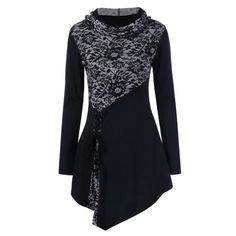 Lace-Up Asymmetric Lace Panel T-Shirt, BLACK, M in Long Sleeves | DressLily.com