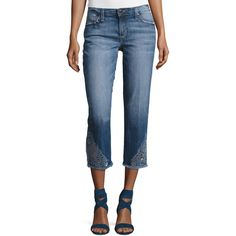 Joe's Jeans The Smith Mid-Rise Cropped Straight Jeans with Floral... ($90) ❤ liked on Polyvore featuring jeans, indigo, mid rise straight leg jeans, blue distressed jeans, slim straight leg jeans, frayed-hem jeans and slim fit jeans
