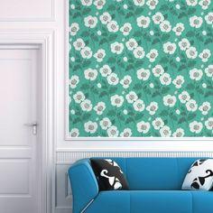 White Poppies Wallpaper Tiles | Wallpaper Tiles