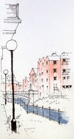Leeds riverside path ~ sketch ~ John Edwards