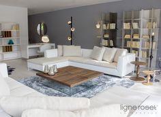 Feng Sectional, Ponton Coffee Table, Oka Bookshelves, for #LigneRoset. LINEA Inc. 8841 Beverly Blvd. Los Angeles, CA 90046 info@linea-inc.com