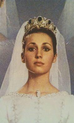 María del Carmen Franco y Polo, 1st Duchess of Franco wearing her Balenciaga wedding gown. 1972.