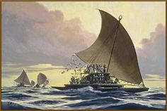 The Fijian ndrua (double canoe) was known in Tonga as the kalia, and in Samoa as the 'alia. Artist: Herb Kawainui Kane A ndrua named Rusi i vanua (cursed is the land) was measured at 118 feet in length. Its deck was 50 feet by 24 feet, length of mast 68 feet, and length of yards 90 feet. A steering oar in the Suva Museum is 33 feet long.