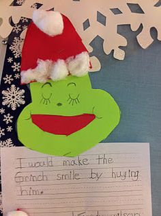 How would you make the grinch smile. writing activity