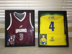 My son's first basketball and soccer jerseys and a picture of him wearing the jersey is the perfect decor for his sports room or the game room! We are putting these up in the gameroom. Two shadow boxes purchased at Michaels on sale for $43 for both.