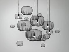 Farming Net Collection by Nendo via mocoloco: Made by heat forming agricultural netting. #Nendo #Lighting #Netting