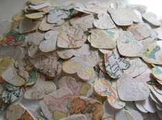 Vintage map hearts