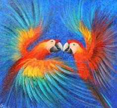 Pinturas Cuadros: Bonitos cuadros con guacamayas