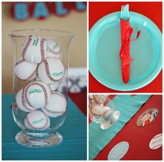 Baseball Party Ideas - So cute for a summer sports party, or for a little boy's birthday party! Fun and easy ideas for baseball party decorations, invitations cupcakes and more! Baseball Birthday Party, Sports Birthday, Boy Birthday Parties, Birthday Fun, Sports Party, Birthday Ideas, Theme Parties, Birthday Cakes, Baseball Party Decorations