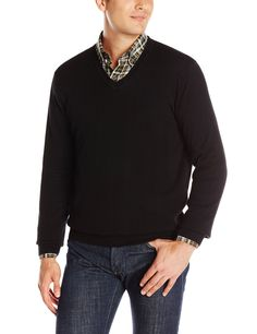 Perry Ellis Men's Solid V-Neck Sweater, Black, Medium