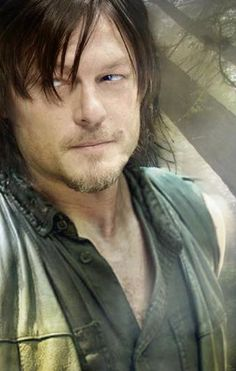 Great pic of Daryl Dixon for TWD but seriously photoshopped. Too bad: he looks just as delicious with his wrinkles & undereye  bags.