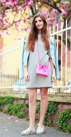 sporty shirtdress with denim jacket and sneakers