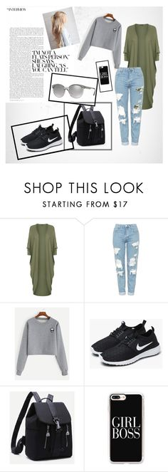 """Versace"" by suljic-melika ❤ liked on Polyvore featuring WearAll, Topshop, NIKE, Casetify, Versace, boyfriend, nike and polyvoreset"