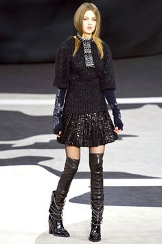 Flared A-Line Black Skirt-Suit withThigh-Hight Boots I Chanel Fall Winter 2013 #fashion #trend