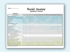 This monthly social anxiety tracker lists: • 6 physical symptoms • 6 psychological symptoms • 6 symptoms you may experience after a social encounter that you find uncomfortable. Enough space is left on the top of the chart to be hole punched and stored in a binder. Letter size. 11 X 8.5 PDF File Download Cv Format, Social Anxiety Symptoms, Bullet Journal Mental Health, Psychological Symptoms, Coping Skills, Letter Size, Problem Solving, Printables, Psychology