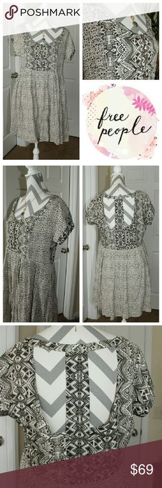 """🆕Free People cute dress Amazing quality dress with intricate detail in the print design. T-SHAPE partially open back with sleeves. Oversized style. Super soft cotton material and fully lined. Approximately 33"""" long, pleated hemline at the waist. Pictures don't do this piece justice! Very beautiful in person. NWOT *No Low Balling *tag got cut to prevent store return Free People Dresses"""