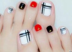 New Pedicure Nail Art Designs Toenails Black White Ideas Pedicure Colors, Pedicure Designs, Pedicure Nail Art, Toe Nail Designs, Toe Nail Art, Nail Colors, Nails Design, Red Pedicure, Pedicure Ideas