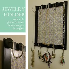 DIY Jewelry Holder made with frame and shower curtain hooks