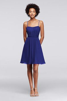 Chiffon Short Bridesmaid Dress with Pleating F19229