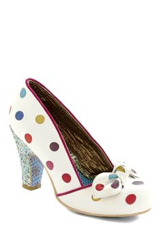 All Walks of Blithe Heel. No matter what milestone awaits, celebrate in the joyous, colorful polka dots of these leather heels from the exclusive Gold Label of Irregular Choice.With the release of their new Gold Label line, which is available only to hand-chosen retailers such as ModCloth, Brighton-based Irregular Choice inspires the imagination in delightful new ways. #white #modcloth
