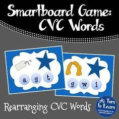 CVC Words: Rearranging CVC Words Game for Smartboard/Promethean Board!
