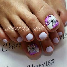 Butterfly Toe Nail Art Design for Spring