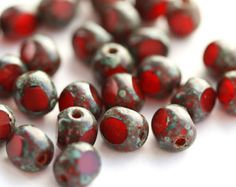ON SALE Dark Red Turbine Glass Beads Red by lilczechtreasures