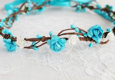 Turquoise Flower Crown Rose Bridal Crown Rustic by NoviaBellaTS