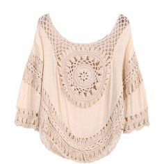 SheIn(sheinside) Khaki Hollow Loose Crop Blouse ($17) ❤ liked on Polyvore featuring tops, blouses, shirts, blusas, khaki, pink shirt, batwing shirt, pink blouse, bat sleeve shirt and long sleeve shirts