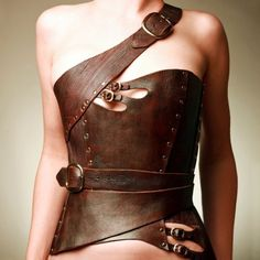 leather corset *with clothes on underneath*