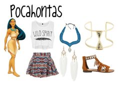 """""""Pocahontas"""" by sammi-mo ❤ liked on Polyvore featuring Disney, Steve Madden and Sole Society"""