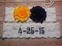 Save the date Embroidered Garter Navy Garter by BloomsandBlessings
