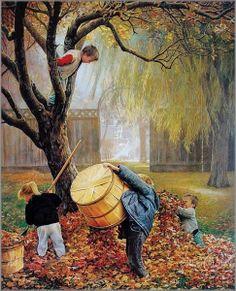 Autumn - art by Greg Olsen Autumn Art, Autumn Leaves, Autumn Harvest, Greg Olsen Art, Munier, Illustrations, Illustration Pictures, Autumn Inspiration, Happy Fall
