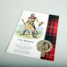 Beautifully produced full colour poster featuring your clan tartan, crest and clansman with a brief...