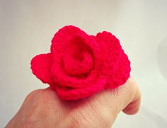 Crochet Rose Ring. Uncinetto anello Rosa