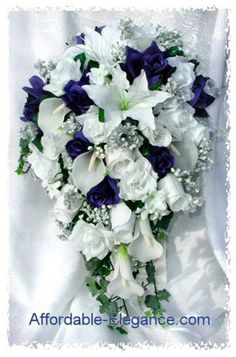 Navy Blue or Royal Blue & White Cascade Bridal Bouquet Silver Accents Gorgeous Quality Real Touch Roses Calla Lilies Silk Wedding Flowers Cascading Bridal Bouquets, Rose Bridal Bouquet, Cascade Bouquet, Diy Wedding Bouquet, White Wedding Bouquets, Blue Wedding, Dream Wedding, Floral Bouquets, Wedding Dresses