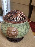 ceramic Electronic incense burner Lion head incense burner by handmade
