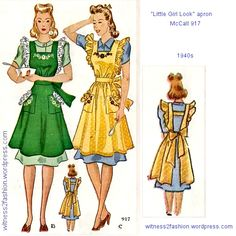 "McCall called this a ""little girl look"" apron. Needlework catalog, Dec. 1946."