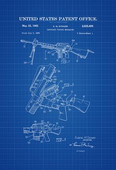 A patent print poster of a Rifle Cartridge Feeding Mechanism invented by Eugene M. The patent was issued by the United States Patent Office on May This invention, effectively tur… Wall Art Prints, Poster Prints, Patent Office, Star Wars Vehicles, Gun Art, Patent Drawing, 6 Photos, Patent Prints, Western Art