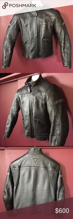 Official Dainese motorcycle🏍jacket European style Official Dainese motorcycle🏍 BLACK LEATHER jacket European style size 44 purchased at BMW store in NYC. Great deal. ✔️🖤🏍💲☑️🎒🌹🌺🌺🌺🌺🌺🌺.  NO TRADES. ANY QUESTIONS PLEASE ASK. IF YOU BUNDLE I WILL OFFER BETTER DISCOUNT. IF YOU WOULD LIKE TO MAKE AN OFFER, PLEASE HIT THE OFFER BUTTON. Thank you toodels. Enjoy. dainese Jackets & Coats