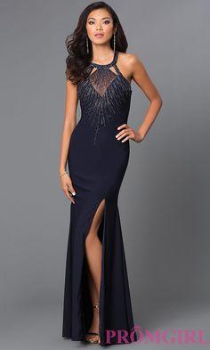 Image of long sleeveless high neck beaded bodice backless dress Style: CD-GL-381 Front Image