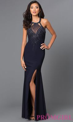 Image of long sleeveless high neck beaded bodice backless dress Style: CD-GL-381 Front Image