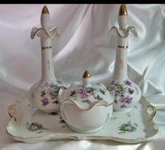 Vintage Porcelain Vanity Set Hand Painted by TheEclecticDiva
