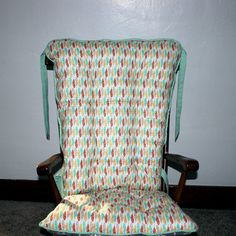 Mint Coral Gold Arrowhead Rocking Chair by MayberryandMain on Etsy