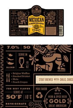 Mexican ChocolateStout wrapper for a beer bottle; aztec and mayan inspired illustrations - The Dieline -