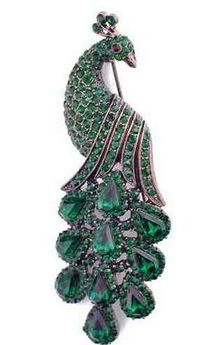 Emerald Green Vintage Style Peacock Brooch  $16.99 www.AllThingsPeacock.com