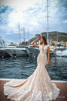 crystal design 2017 bridal cap sleeves deep plunging v neck full embellishment ivory color sexy elegant fit and flare mermaid wedding dress low back royal long train (marchesa) mv